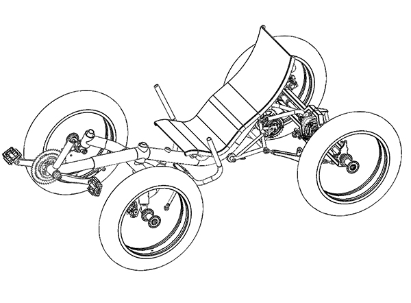 design drawing of modular quadricycles